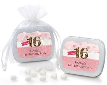 Sweet 16 Mint Tins Birthday Party Favors - 12 ct. Custom Party Favors