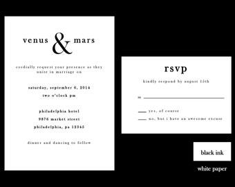 Black and White Wedding Invitation Set, DIY Wedding Invitation, Printable Invitation Set, Clean Invite Set,  Modern Wedding Invitation Set