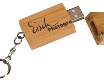 Bamboo USB Flash Drive with Keychain