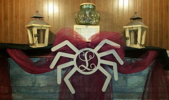 Wooden Monogram Halloween Spider Decor / Wall Hanging
