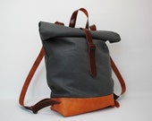 waxed Canvas Backpack, charcoal grey  color, with handles, leather base closures