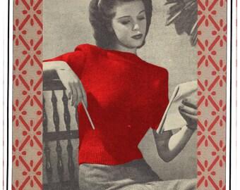 PDF Pattern, 1940s Glamour Sweater Vintage Knitting Pattern.