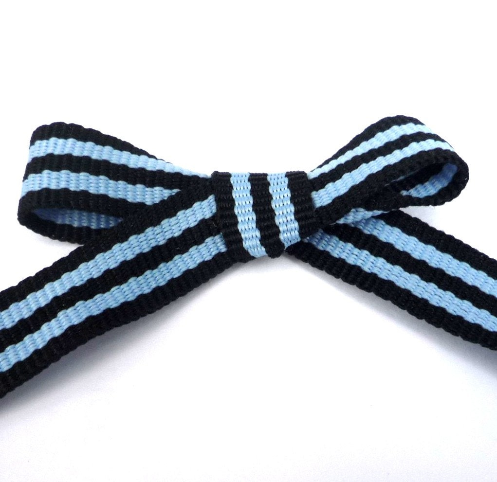 Black With Blue Stripes Grosgrain Ribbon Polyester Binding