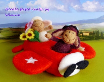 Needle felted couple sheeps and red airplane handmade OOAK