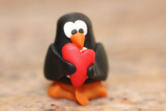 Egbert the Penguin, pocket totem, polymer clay miniature animal, Red Love Heart, arctic bird figurine, small sculpture, black, white, orange