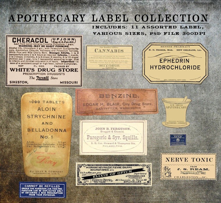 digital antique apothecary label elements templates collection