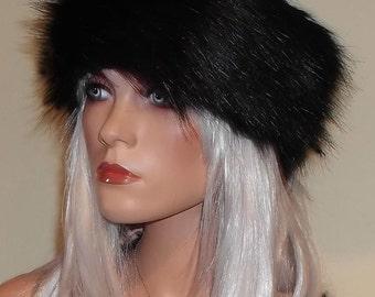 Black Fur Headband made in Luxurious 60mm Faux Fur