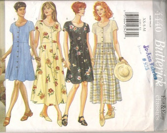 90's Butterick Fast & Easy Dress pattern #4440 Sizes XS/S/M