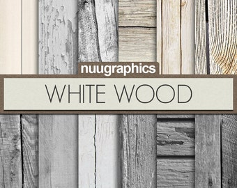 """White wood digital paper: """"WHITE WOOD"""" with wood textures, and wood backgrounds, in white and grey colors"""