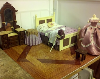 High Quality dollhouse bed room set lot hand dressed made bed Victorian vanity dressed table dress mold purple ooak gorgeous set 1/12 scale