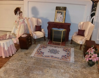 High Quality dollhouse furniture living room set lot maroon painted resin fireplace 2 Hansson wingback chairs rug end tables + flowers 1/12
