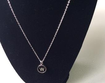 Typewriter key necklace - Letter W