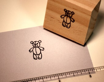 Hand carved rubber stamp - teddy bear.