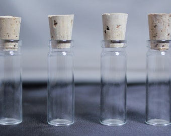 Small Glass Vials with Cork Top, Glass Vial Supply, Set of 4, Set of 12 Glass Cork Bottles