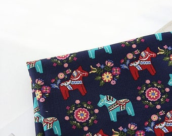 Scandinavian Retro Vintage  Dala Horse Canvas Fabric