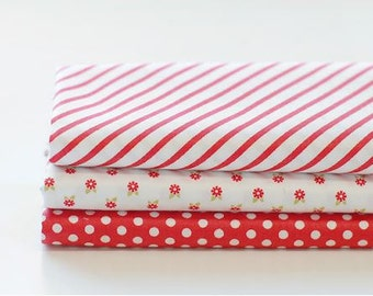 Red Ribbon - Quarter Fabric Pack 3 Fabric 1 set - Sets for 3 each 45 X 55 cm
