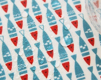 Laminated Scandinavian Style Little Herring Pattern Fabric