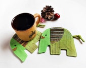 Coasters, Pack of 2 drinks coaster, Animal drink coaster, Handmade coaster, Elephant coaster, Fabric coaster, Gift