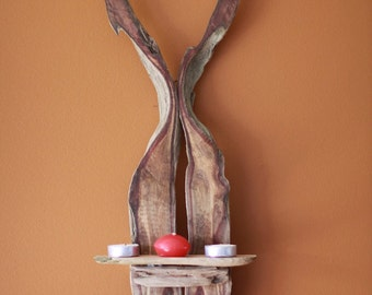 A Natural Driftwood Wall Sconce Candle Holder