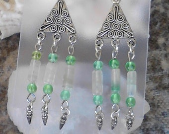 Mint Julip silver beaded dangle earrings