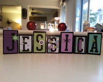 Letter Blocks, Greens and purples