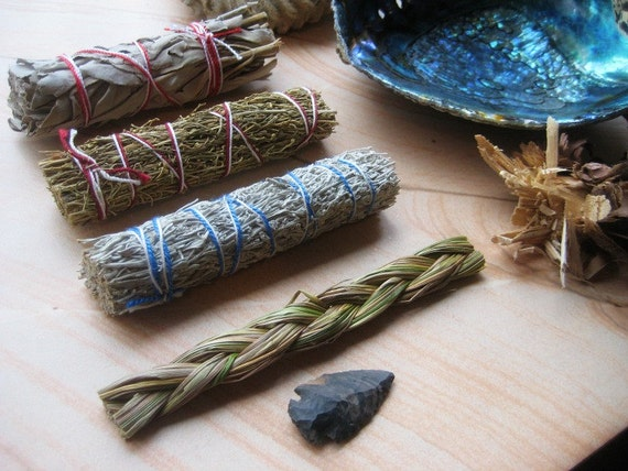 Sweetgrass 4 5 quot agate arrowhead native dry herb incense smudge