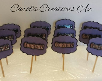 12 Congrats Cupcake Toppers / Congrats Party Picks / Congratulations Party Picks / Congratulations Cupcake Toppers / Food Labels