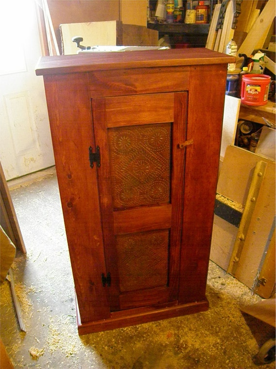 Wood primitive country pie safe cupboard jelly cabinet