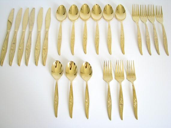 Vintage Gold Flatware Set Rose Floral Pattern Gold Tone Wash