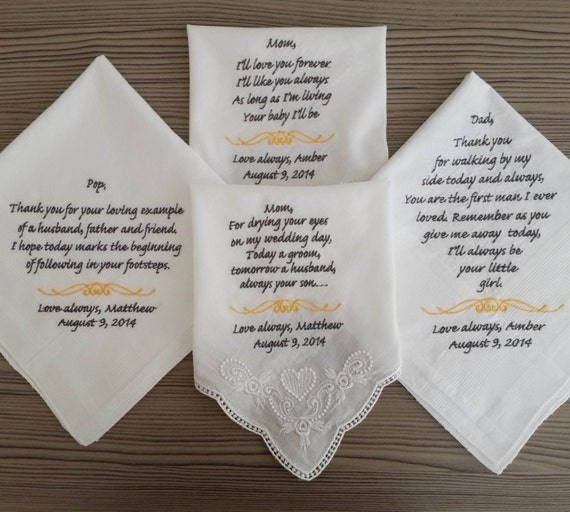 Wedding Gifts For Parents Handkerchief : of 4 handkerchief!!. Personalized wedding handkerchief set for parents ...
