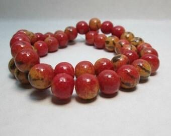 Apple Coral Limestone Bead 10mm Round (22)