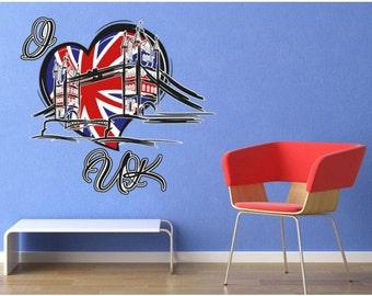 I Love UK wall decal sticker, deco, mural, vinyl wall art
