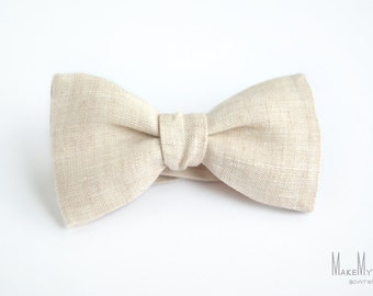 Blush Melange Linen Bow Tie / Ivory Bow Tie / linen bow tie / mens bow tie / groomsmen bow tie / wedding bow tie