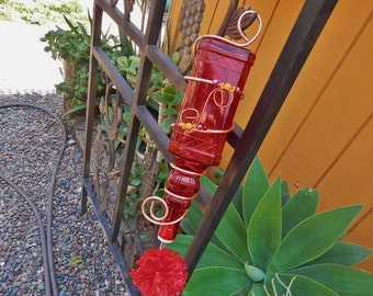 Bright Red, Handcrafted Glass Hummingbird Feeder