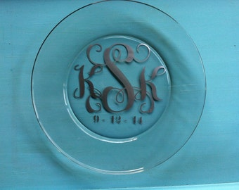 Monogram Serving Platter, Glass Monogram Serving Platter