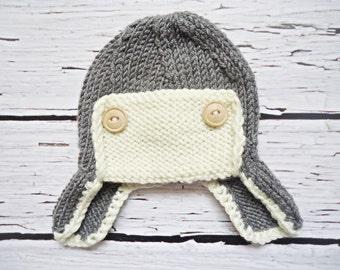 Aviator crochet hat for newborn, Aviator knit hat for newborn