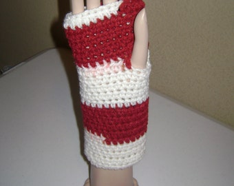 Red & White Fingerless Gloves