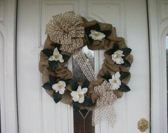 Floral Wreath,, Magnolia Wreath, Year Round Wreath, Indoor Wreath, Outdoor Wreath,  Summer Wreath, Fall Wreath