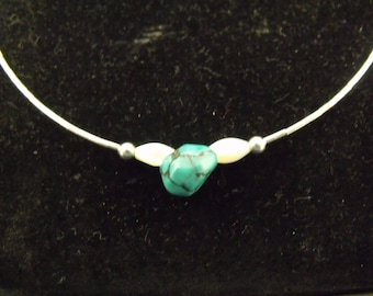 Sterling Liquid Silver Turquoise Nugget and Mother of Pearl Necklace - Handmade