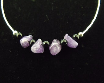Sterling Liquid Silver Amethyst and Black Onyx Necklace - Handmade