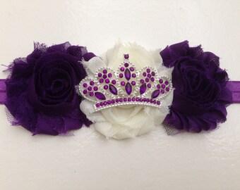Purple baby headband--newborn crown headband