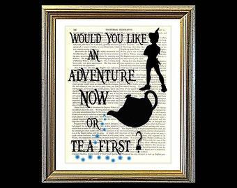 Would You Like An Adventure or Tea First. PETER PAN. Art on vintage encyclopedia page