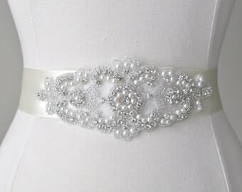 Rhinestone Crystal Pearl Beaded Bridal Sash, Wedding Dress Belt, Wedding Sash