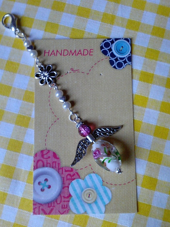 Handmade Guardian Angel Bag/Keyring charm Silver & Lampwork glass beads crystals Gift idea