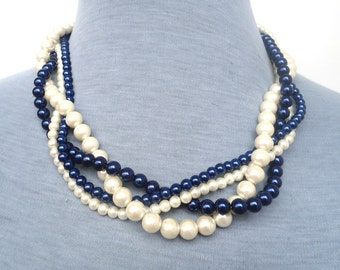 Pearl Necklace,  Glass Pearl Necklace,Four Strands  Necklace, Navy Blue and  Ivory  Necklace, Wedding Necklace,Bridesmaid necklace,Jewelry