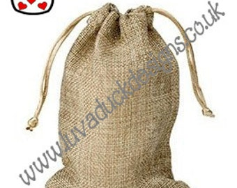 10 x Small Mini Jute Hessian Drawstring Gift Bag Pouch