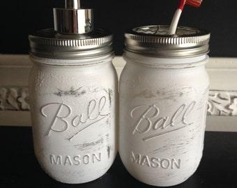 """White """"Shabby Chic"""" Ball Mason Jar Soap Dispenser or Toothbrush Holder"""