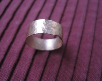 Sterling Silver Hammered Ring band.  Rustic-look  Handmade Sterling Silver Ring Silver Band