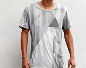 PYRAMID TEE - Heathen Clothing Men's T-Shirt - Hand Dyed Gray and Charcoal Geometric Panels - Super Soft Cotton Triangle T Shirt