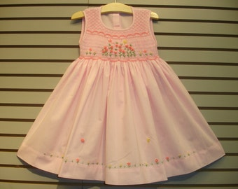 New boutique design hand embroidered smocked Dress - Size  2  3  4  5  6  7  Pink